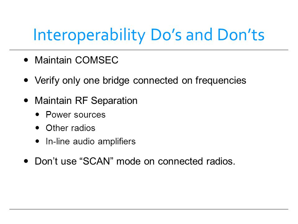 Interoperability Do's and Don'ts