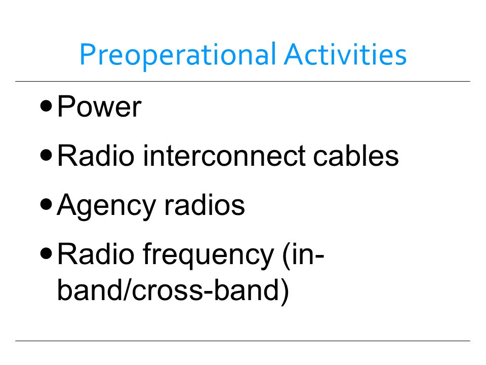 Preoperational Activities