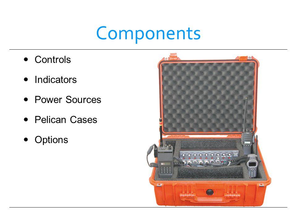 Components Controls Indicators Power Sources Pelican Cases Options