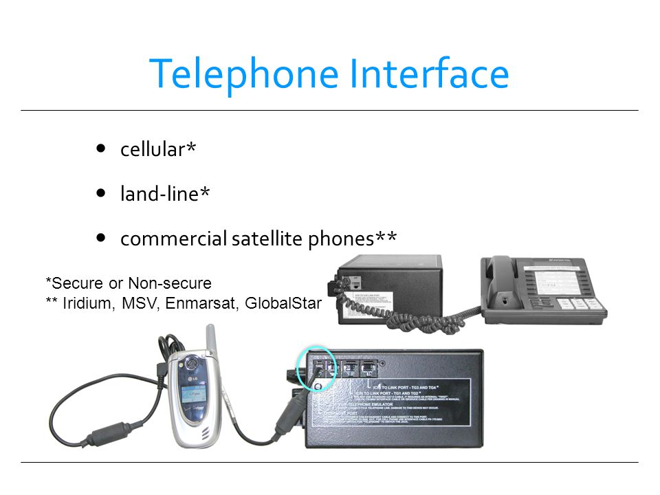 Telephone Interface cellular* land-line* commercial satellite phones**