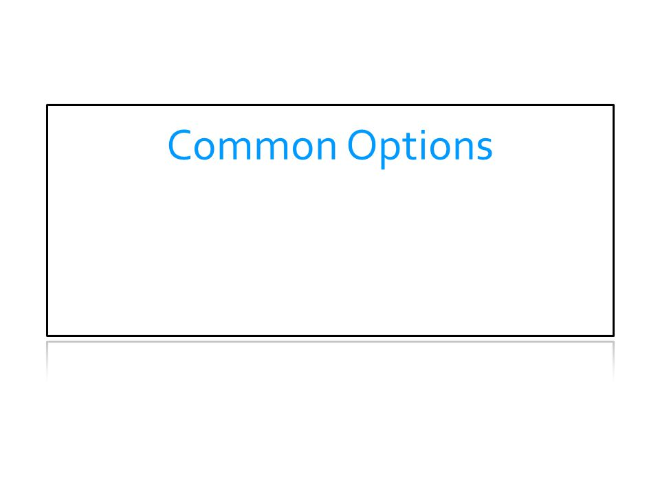 Common Options THEORY OF OPERATION.