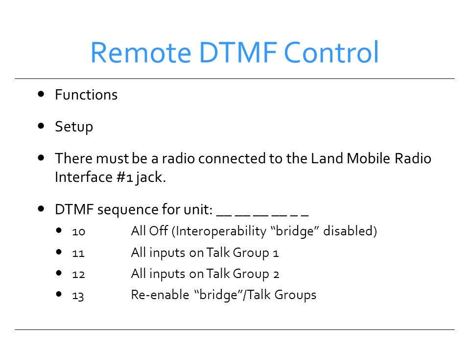 Remote DTMF Control Functions Setup