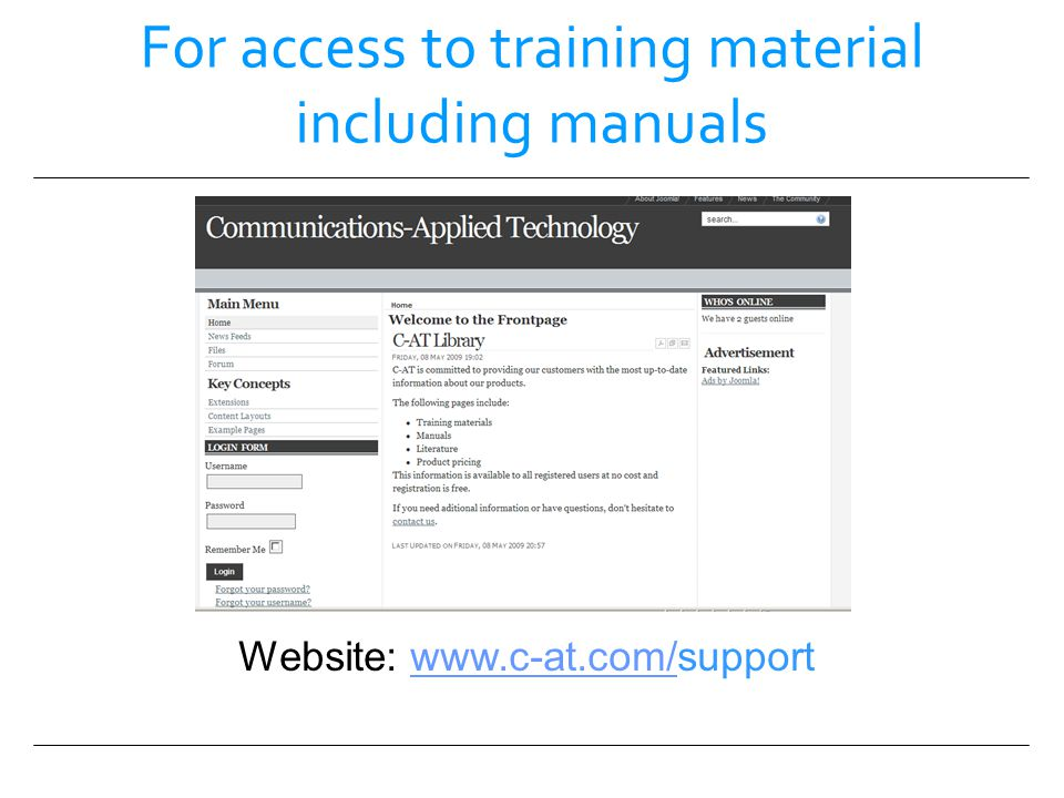 For access to training material including manuals