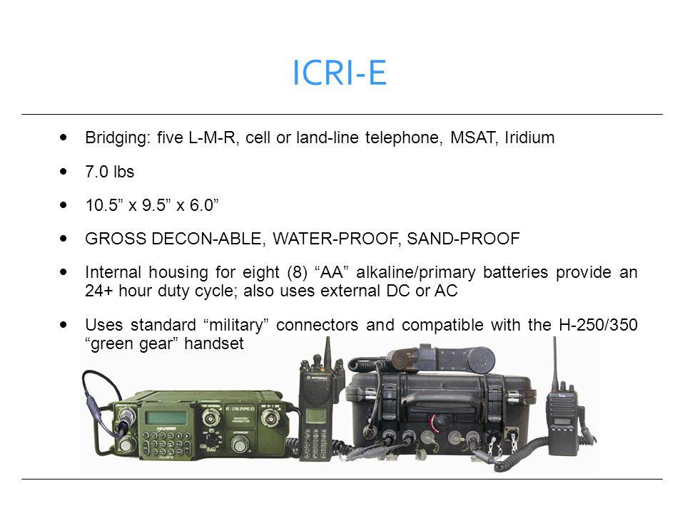 ICRI-E Bridging: five L-M-R, cell or land-line telephone, MSAT, Iridium. 7.0 lbs. 10.5 x 9.5 x 6.0