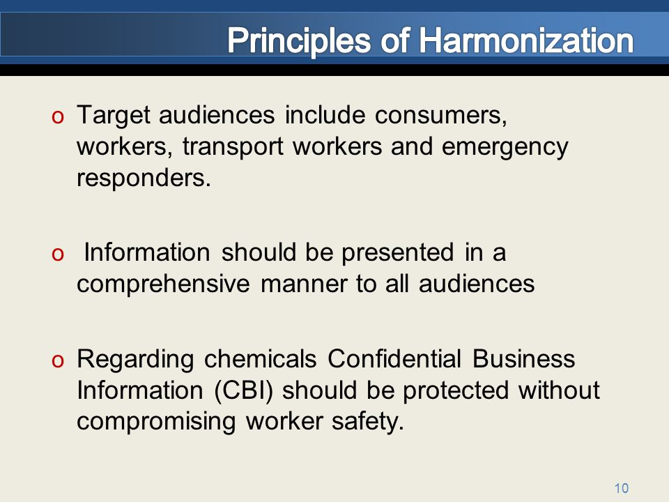 Principles of Harmonization