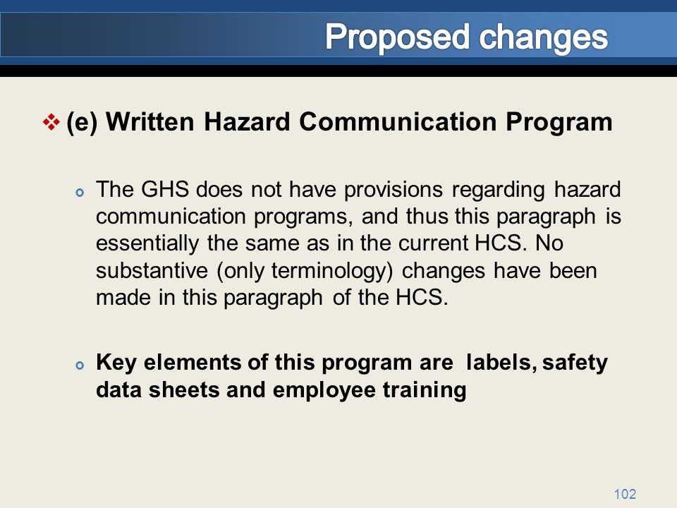 Proposed changes (e) Written Hazard Communication Program