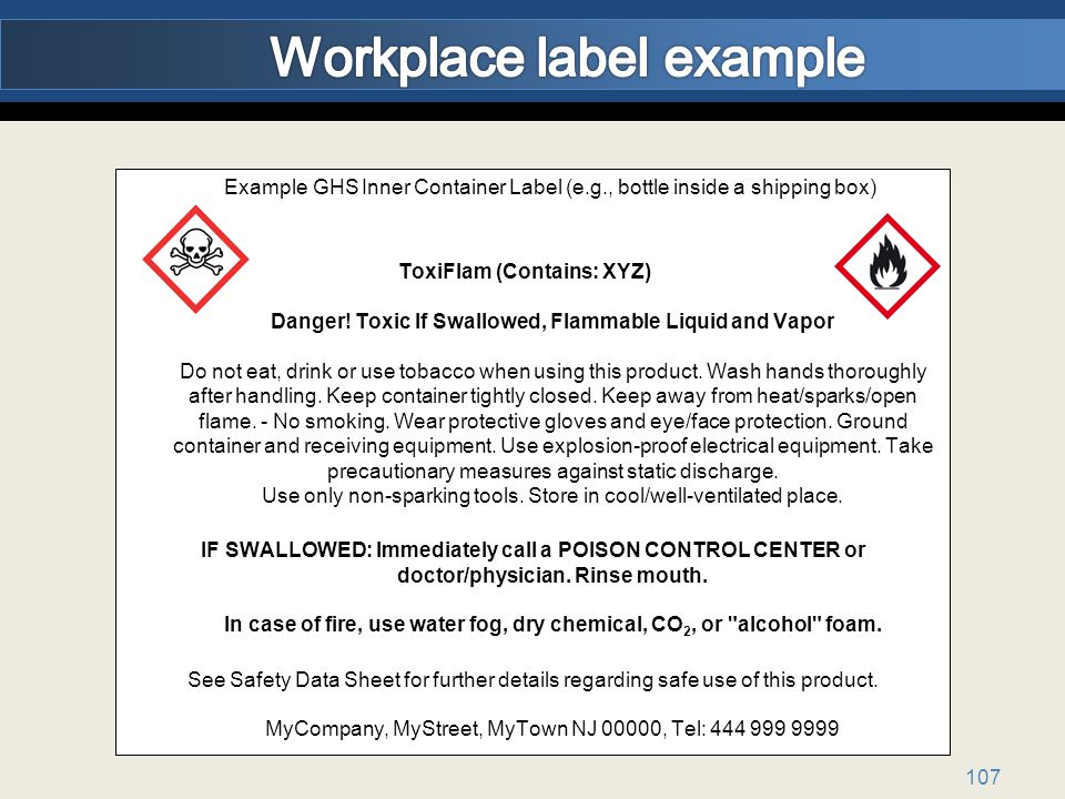 Workplace label example
