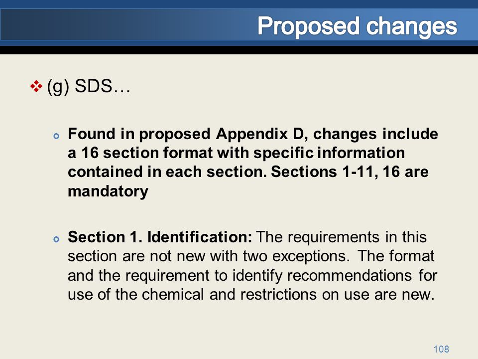 Proposed changes (g) SDS…