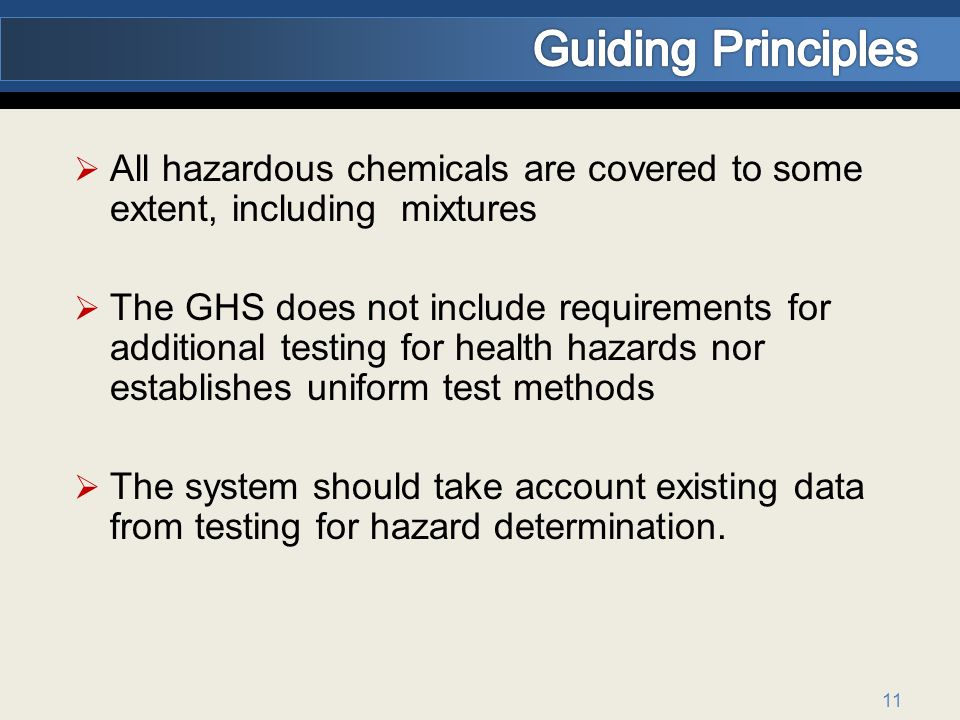 Guiding Principles All hazardous chemicals are covered to some extent, including mixtures.