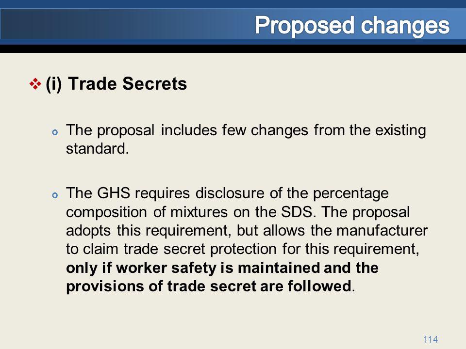 Proposed changes (i) Trade Secrets