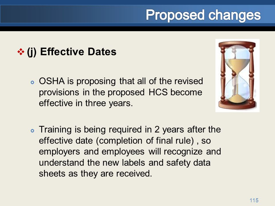 Proposed changes (j) Effective Dates