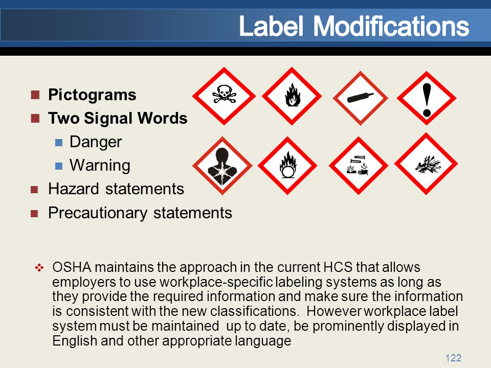 ! Label Modifications Pictograms Two Signal Words Danger Warning