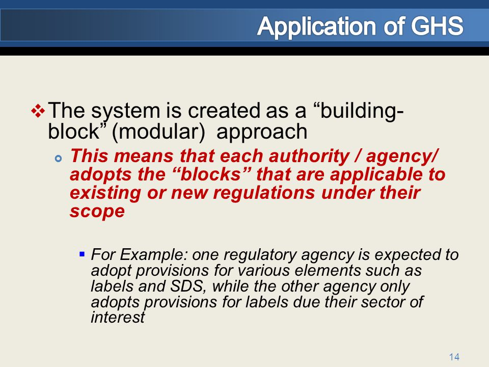Application of GHS The system is created as a building-block (modular) approach.