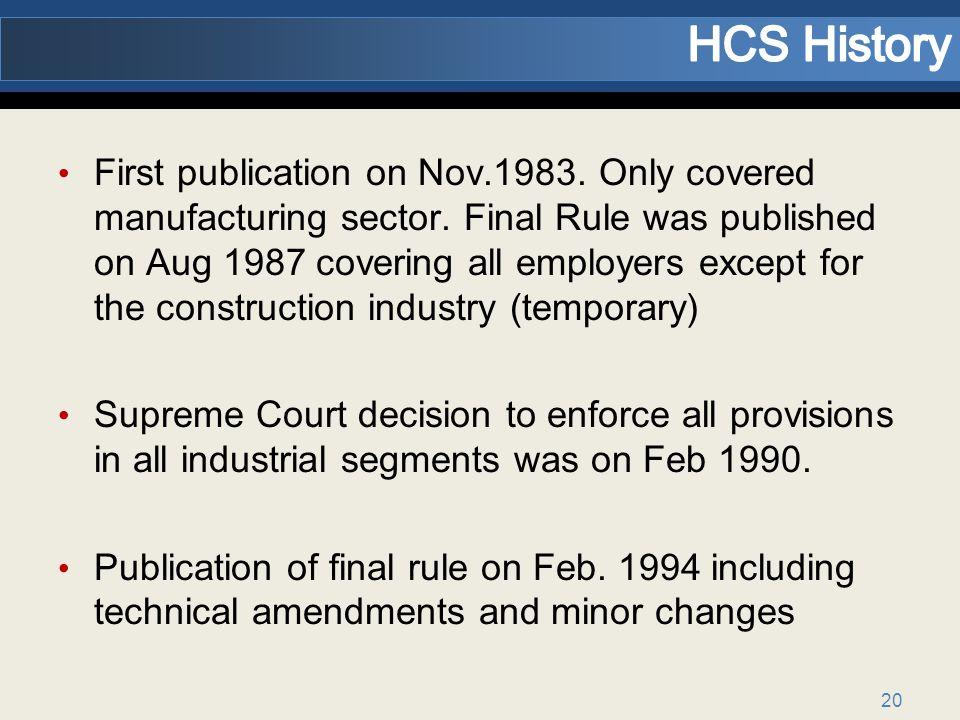 HCS History