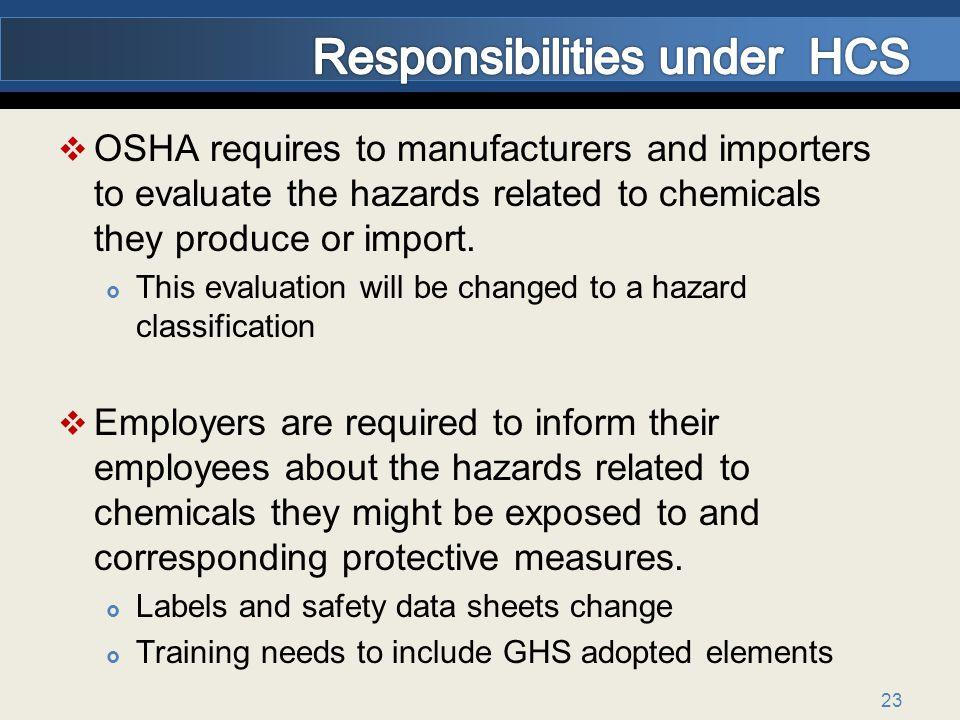 Responsibilities under HCS
