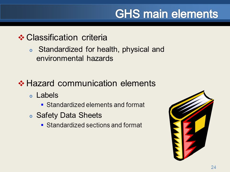 GHS main elements Classification criteria