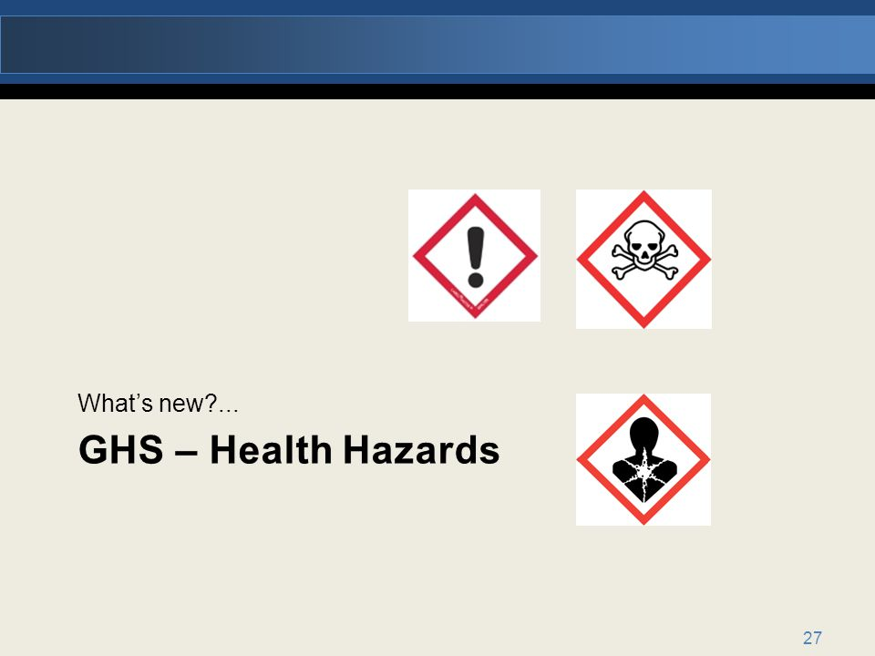 What's new ... GHS – Health Hazards