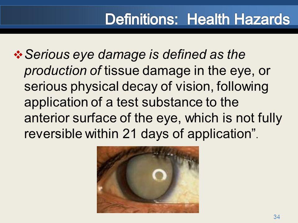 Definitions: Health Hazards