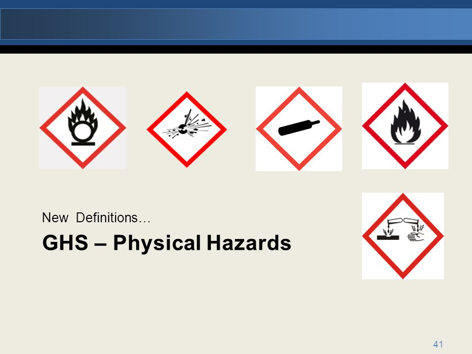 New Definitions… GHS – Physical Hazards