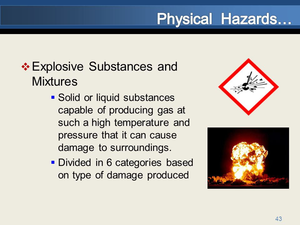 Physical Hazards… Explosive Substances and Mixtures