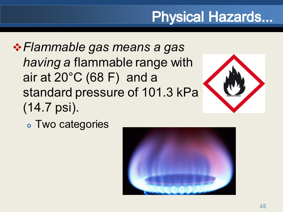 Physical Hazards... Flammable gas means a gas having a flammable range with air at 20°C (68 F) and a standard pressure of 101.3 kPa (14.7 psi).