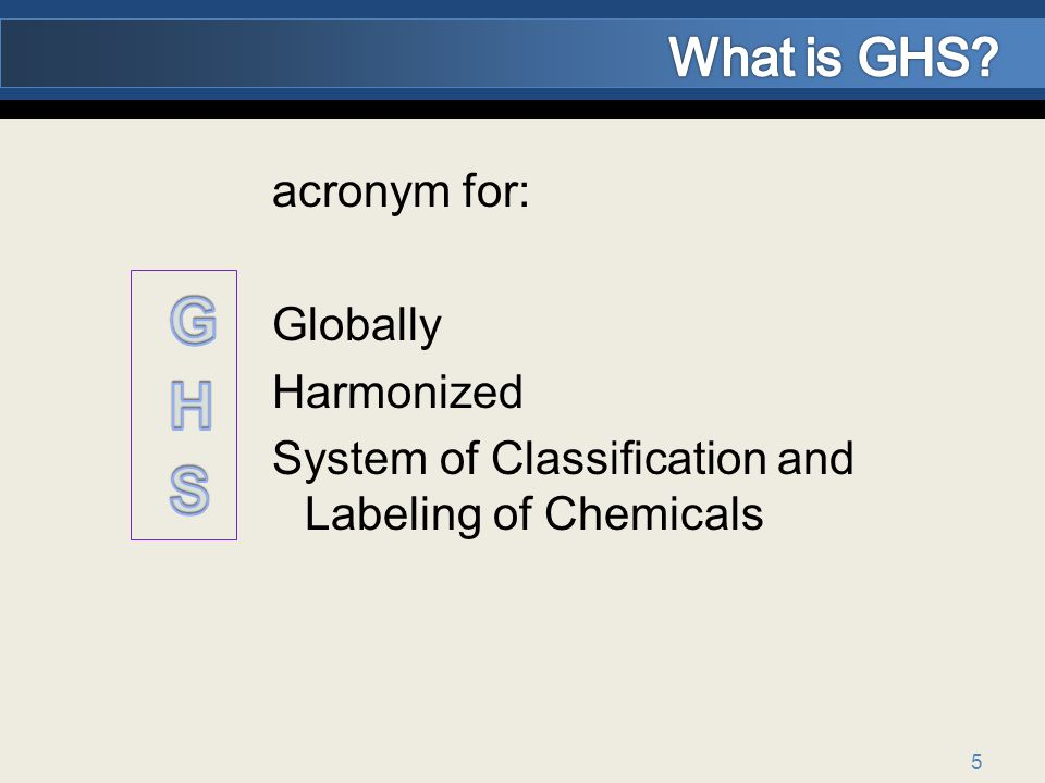 GHS What is GHS acronym for: Globally Harmonized
