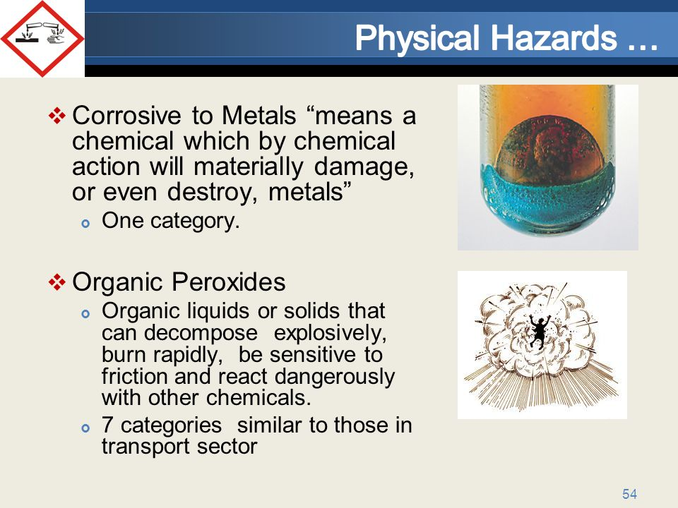 Physical Hazards … Corrosive to Metals means a chemical which by chemical action will materially damage, or even destroy, metals