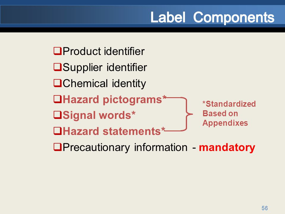 Label Components Product identifier Supplier identifier
