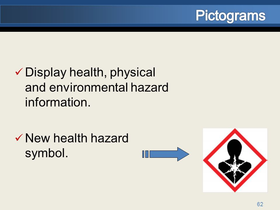 Pictograms Display health, physical and environmental hazard information. New health hazard symbol.
