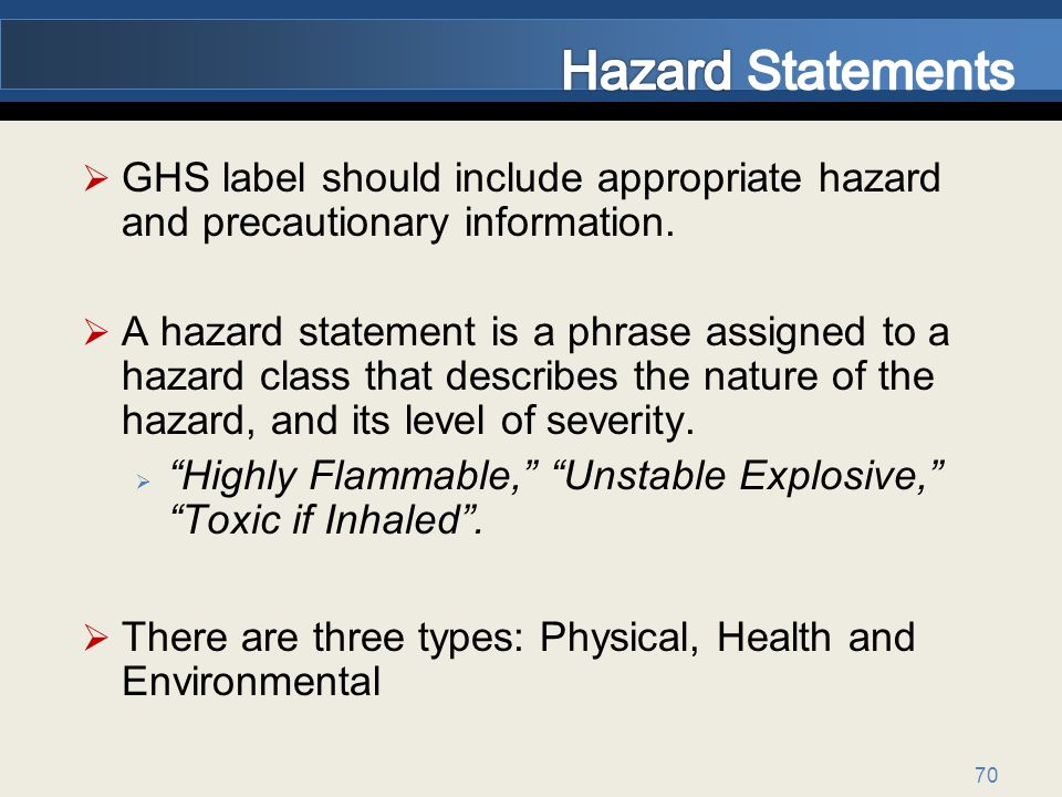 Hazard Statements GHS label should include appropriate hazard and precautionary information.