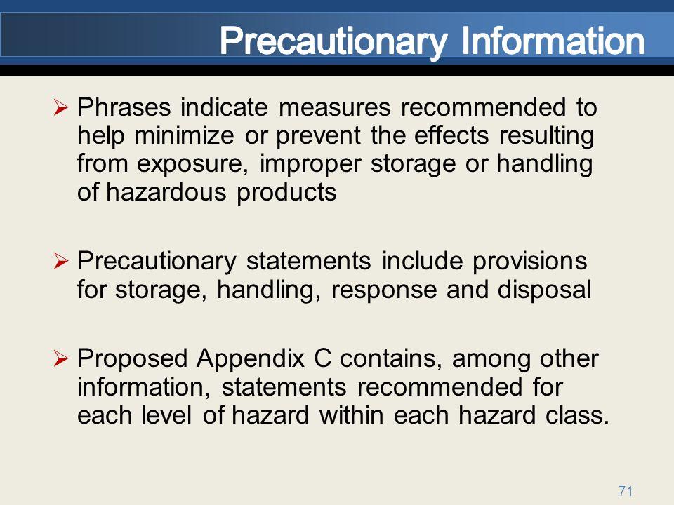 Precautionary Information