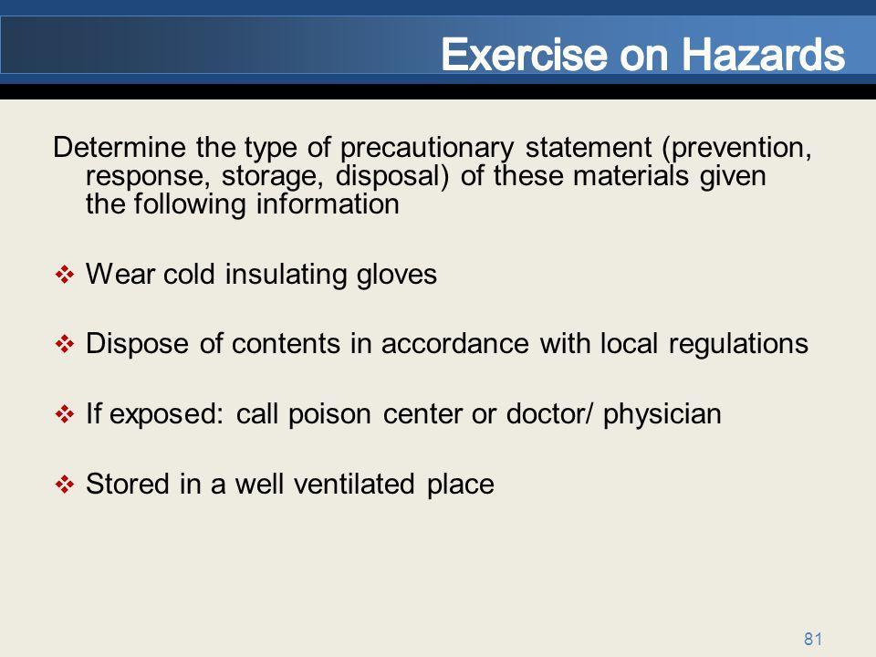 Exercise on Hazards