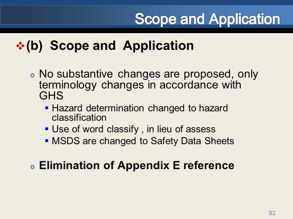Scope and Application (b) Scope and Application