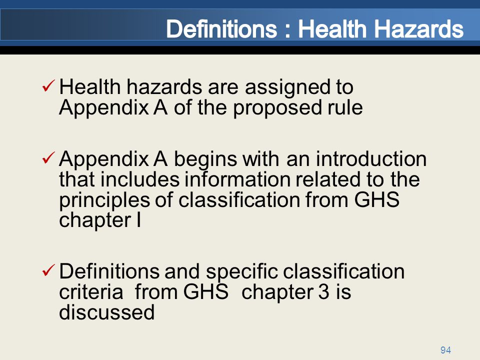 Definitions : Health Hazards
