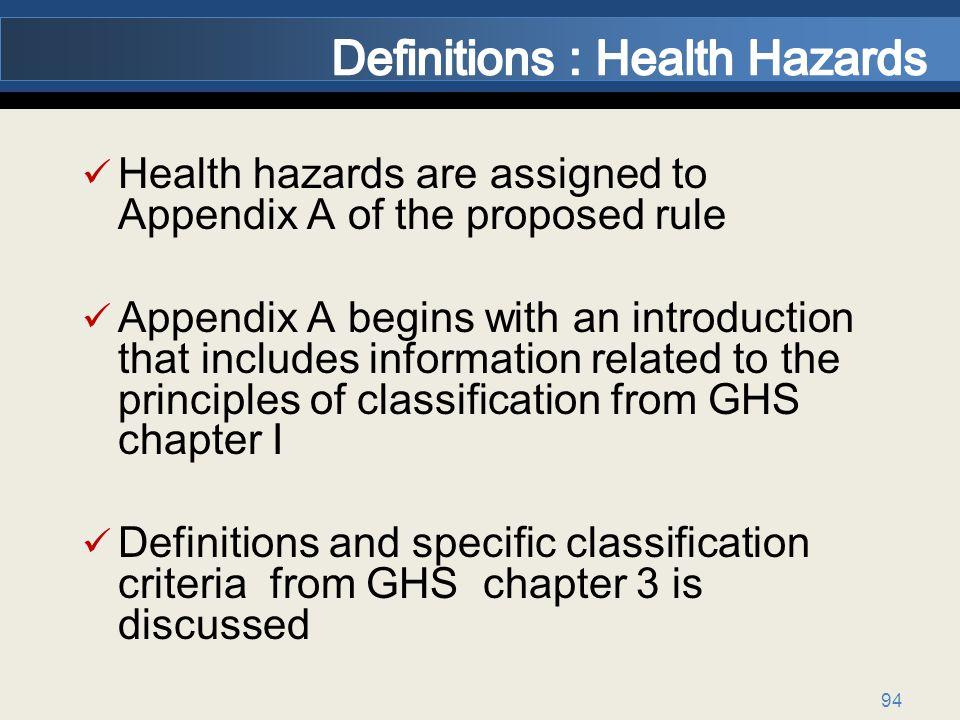 Definitions : Health Hazards