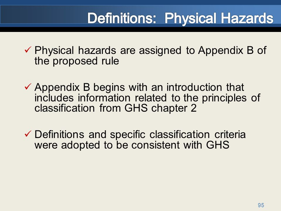Definitions: Physical Hazards
