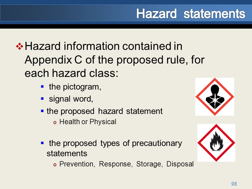 Hazard statements Hazard information contained in Appendix C of the proposed rule, for each hazard class: