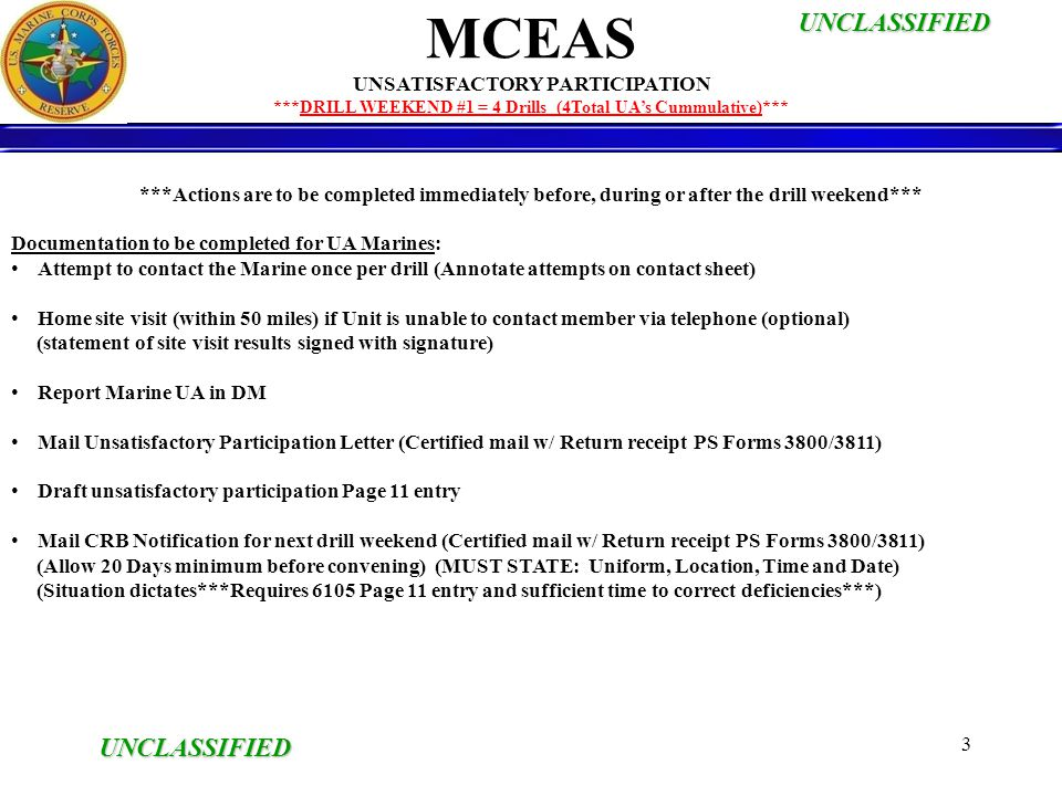 MCEAS UNCLASSIFIED UNSATISFACTORY PARTICIPATION