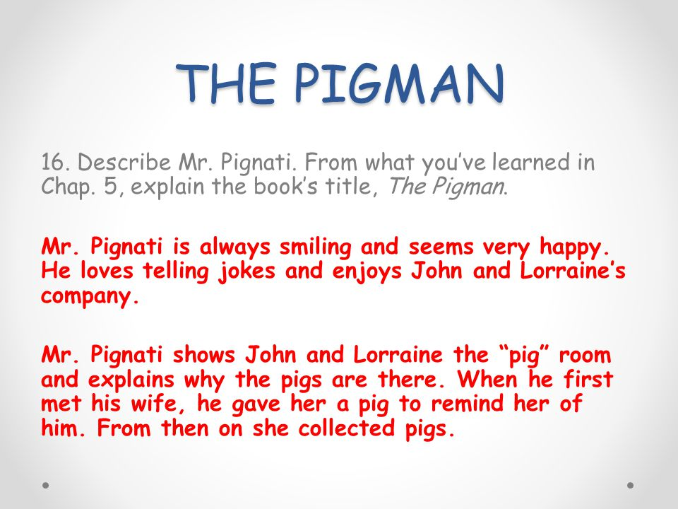 the pigman john and lorraine relationship test