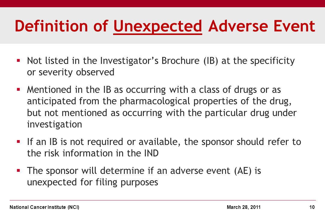 Definition of Unexpected Adverse Event