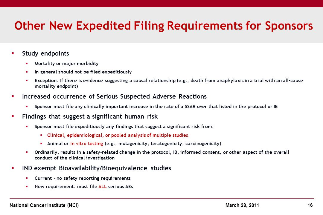 Other New Expedited Filing Requirements for Sponsors