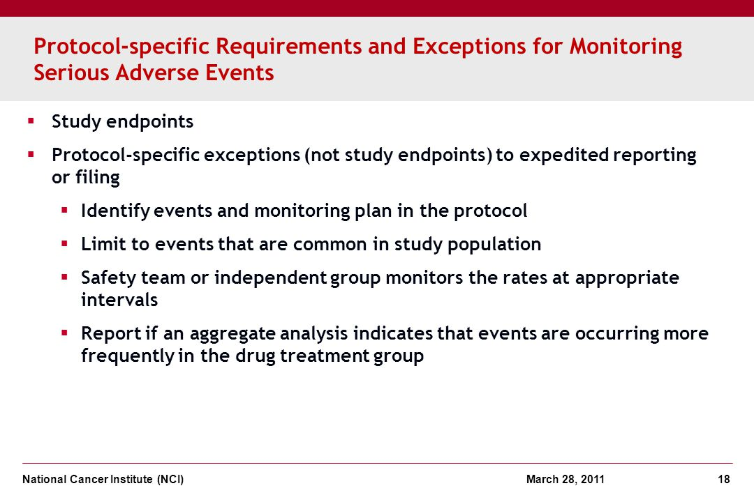 Protocol-specific Requirements and Exceptions for Monitoring Serious Adverse Events