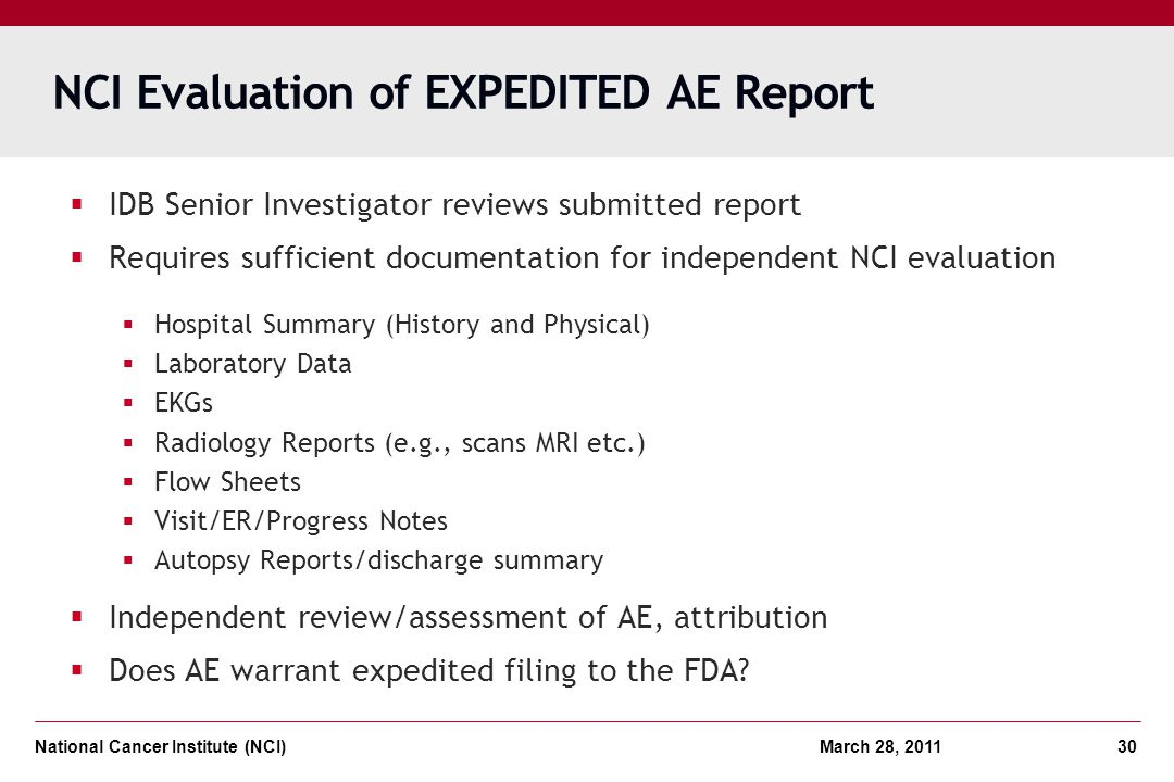 NCI Evaluation of EXPEDITED AE Report