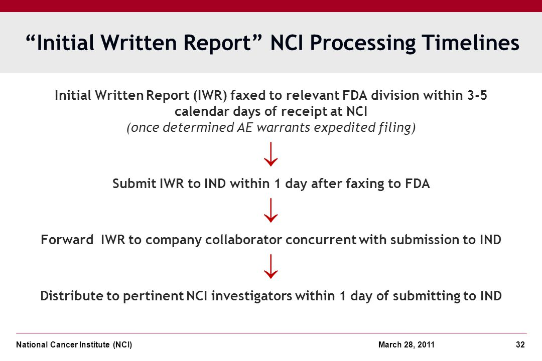 Initial Written Report NCI Processing Timelines