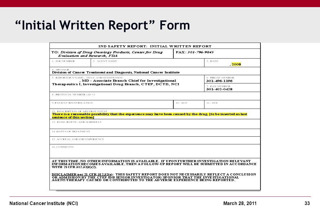 Initial Written Report Form