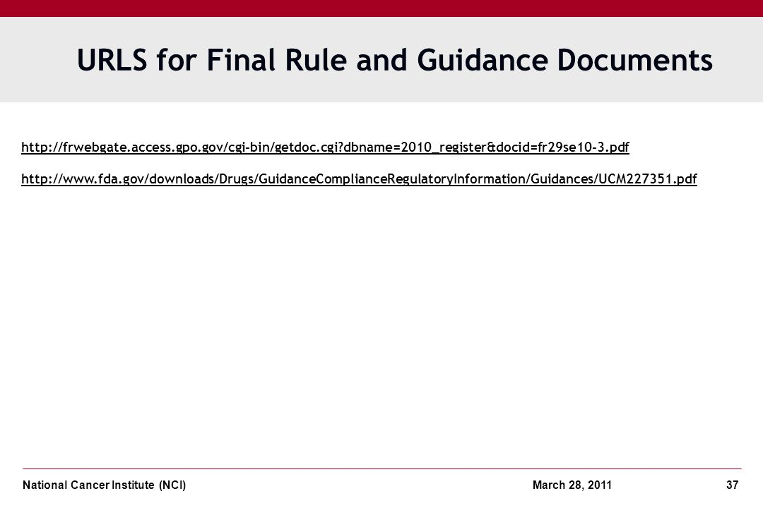 URLS for Final Rule and Guidance Documents