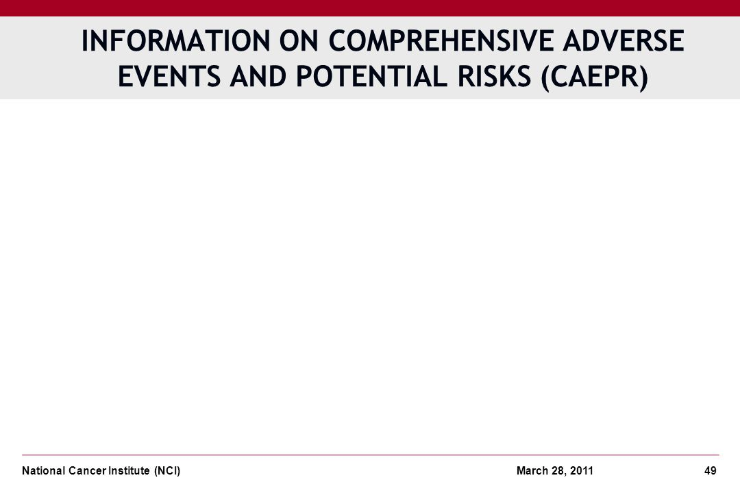 INFORMATION ON Comprehensive Adverse Events and Potential Risks (CAEPR)