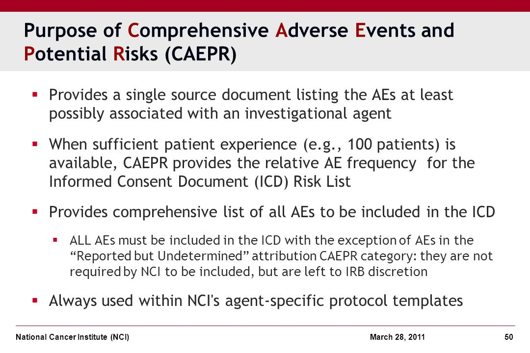 Purpose of Comprehensive Adverse Events and Potential Risks (CAEPR)