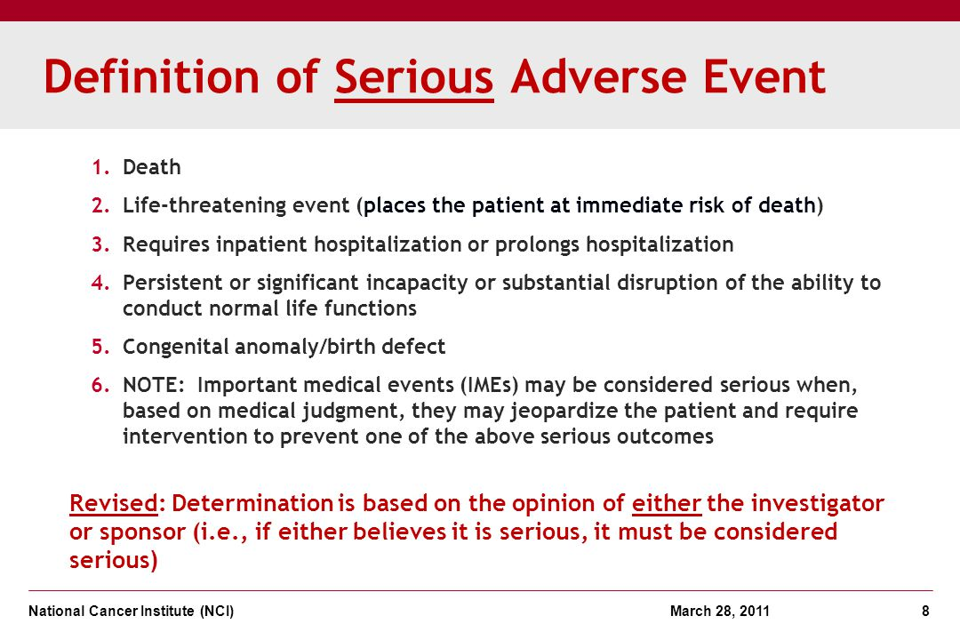 Definition of Serious Adverse Event