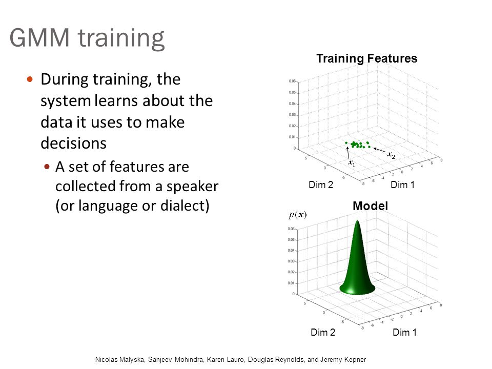 GMM training Training Features. During training, the system learns about the data it uses to make decisions.